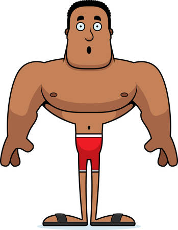 A cartoon man looking surprised in a swimsuit.