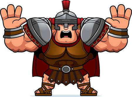 A cartoon illustration of a Roman centurion looking scared.