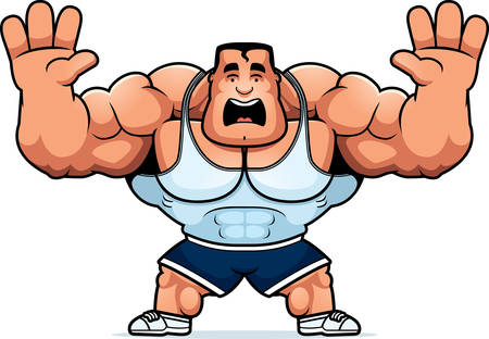 A cartoon illustration of a personal trainer looking scared. 向量圖像