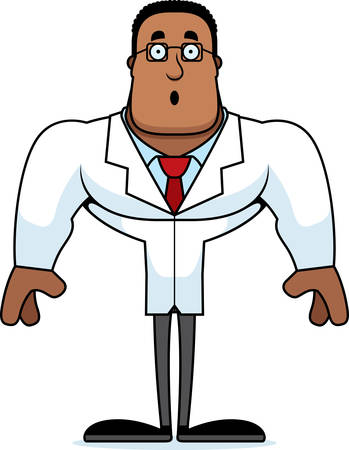 A cartoon scientist looking surprised. Stock Illustratie