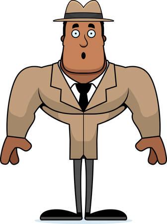 A cartoon detective looking surprised. Ilustracja