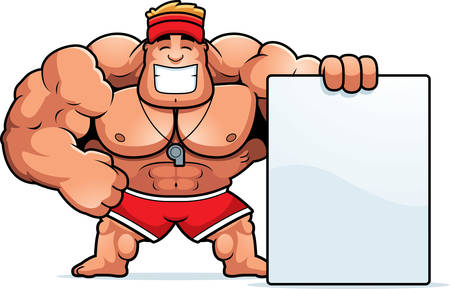A cartoon illustration of a lifeguard with a sign.