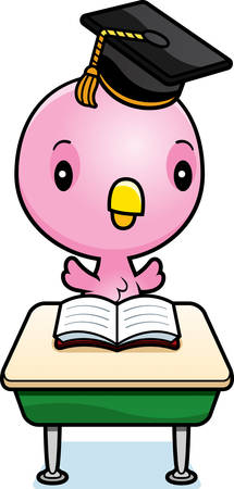 A cartoon illustration of a baby pink bird student sitting at a classroom desk.