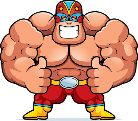 A cartoon illustration of a Mexican luchador with thumbs up. Illustration