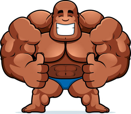 A cartoon illustration of a bodybuilder with thumbs up. Ilustrace
