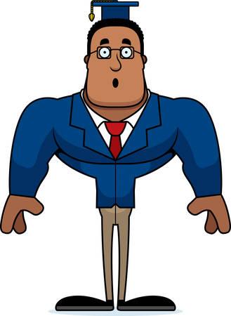 A cartoon teacher looking surprised. Illustration