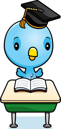 A cartoon illustration of a baby blue bird student sitting at a classroom desk.  イラスト・ベクター素材