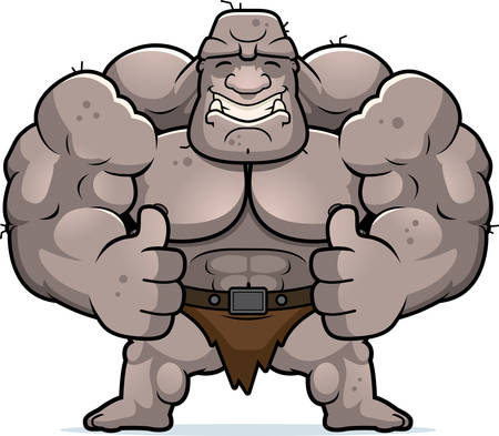 A cartoon illustration of an ogre with thumbs up.