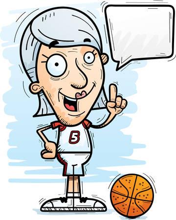 A cartoon illustration of a senior citizen woman basketball player talking.