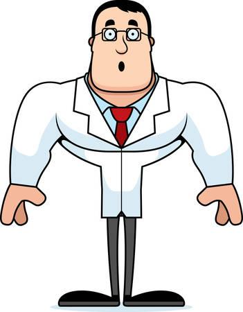A cartoon scientist looking surprised. Illusztráció