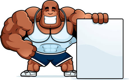 A cartoon illustration of a personal trainer with a sign.