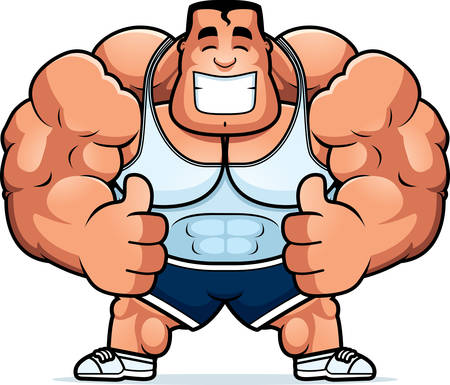 A cartoon illustration of a personal trainer with thumbs up. Ilustrace