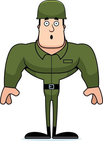 A cartoon soldier looking surprised.