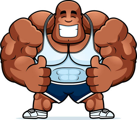 A cartoon illustration of a personal trainer with thumbs up. Illustration