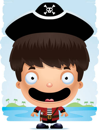 A cartoon illustration of a boy pirate smiling.  イラスト・ベクター素材