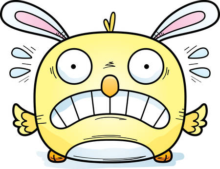 A cartoon illustration of an Easter bunny chick looking scared.