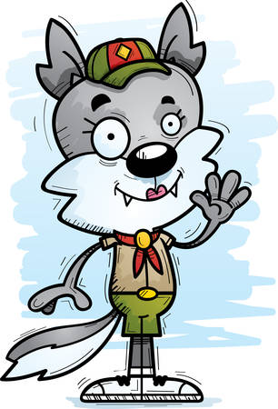 A cartoon illustration of a female wolf scout waving.