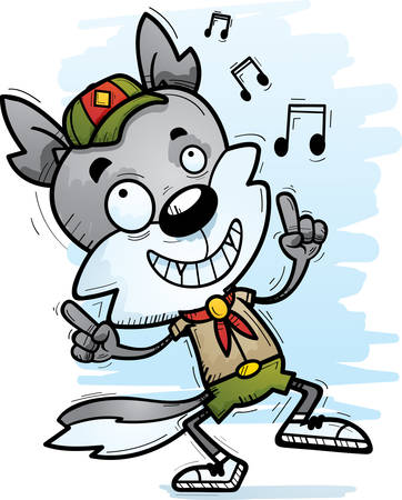 A cartoon illustration of a male wolf scout dancing.