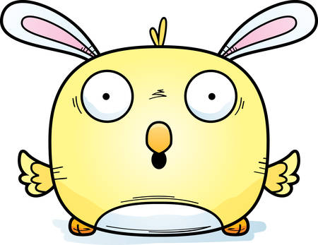 A cartoon illustration of an Easter bunny chick looking surprised.