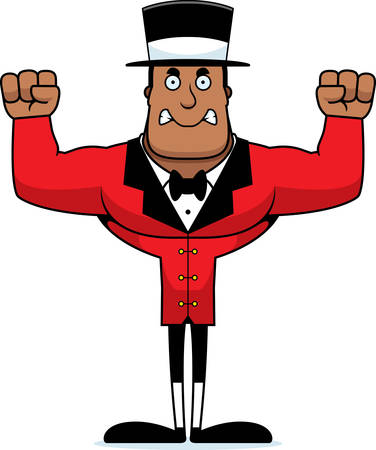 A cartoon ringmaster looking angry. Illustration