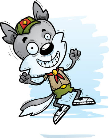 A cartoon illustration of a male wolf scout jumping. Illustration