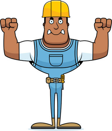 A cartoon construction worker looking angry.