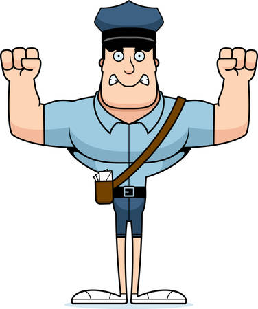 A cartoon mail carrier looking angry.