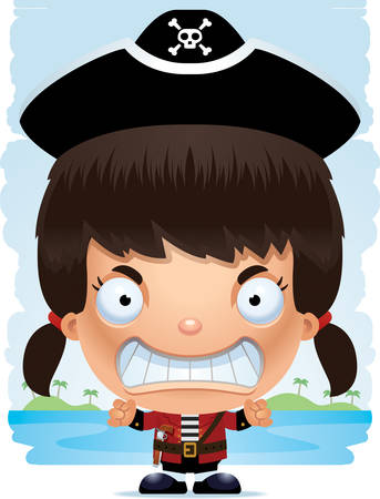 A cartoon illustration of a girl pirate with an angry expression.