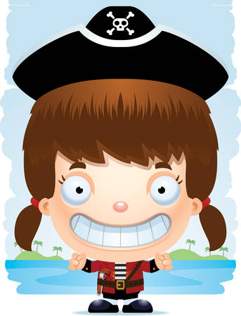 A cartoon illustration of a girl pirate smiling.