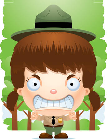 A cartoon illustration of a girl park ranger looking angry. Illustration