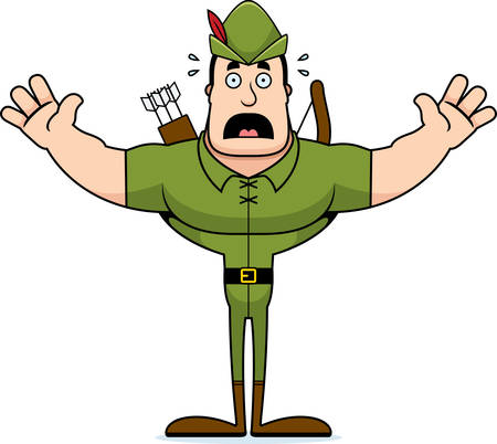 A cartoon Robin Hood looking scared. Çizim
