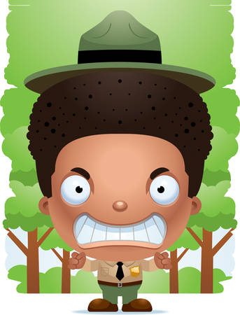 A cartoon illustration of a boy park ranger looking angry.