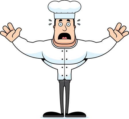 A cartoon chef looking scared. Illusztráció