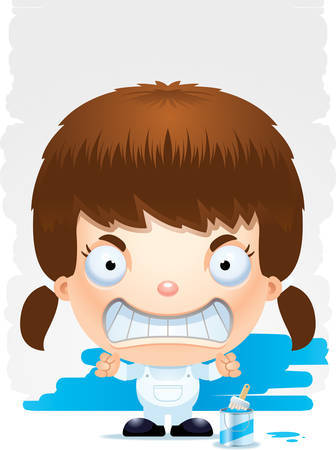 A cartoon illustration of a girl painter with an angry expression. Illustration
