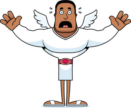 A cartoon cupid looking scared. Çizim