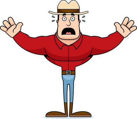 A cartoon cowboy looking scared.