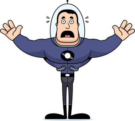 A cartoon spaceman looking scared.
