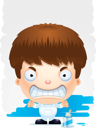 A cartoon illustration of a boy painter with an angry expression. Illustration