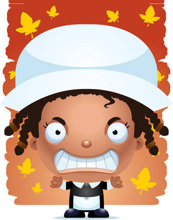 A cartoon illustration of a girl pilgrim looking angry. Illustration