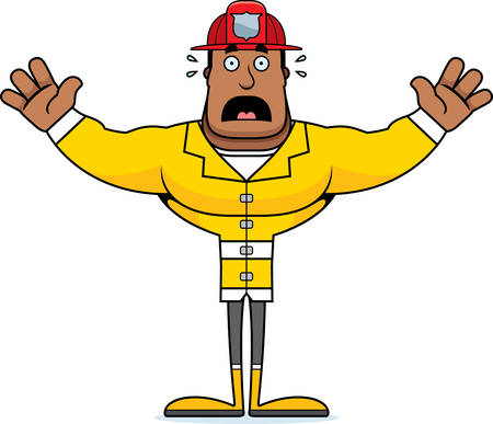 A cartoon firefighter looking scared. Illustration