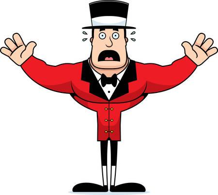 A cartoon ringmaster looking scared. Illustration