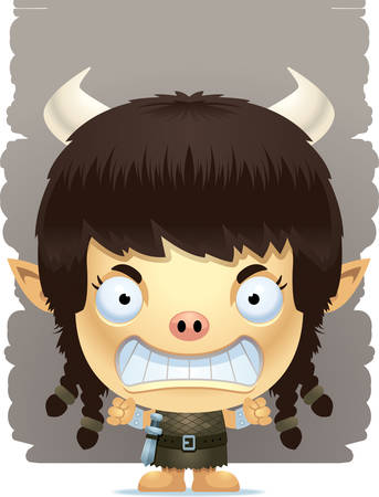 A cartoon illustration of a girl ogre with an angry expression.