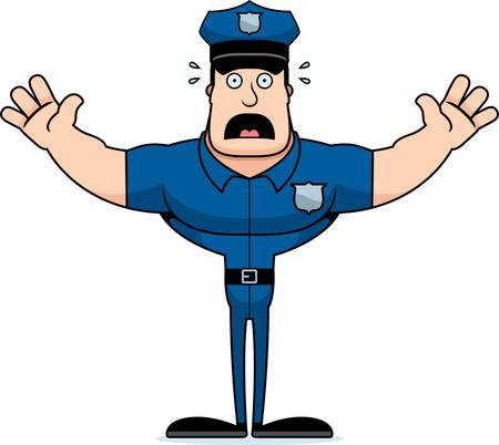 A cartoon police officer looking scared. Иллюстрация
