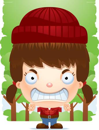 A cartoon illustration of a girl lumberjack looking angry. Standard-Bild - 101954215