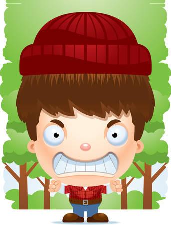 A cartoon illustration of a boy lumberjack looking angry. Standard-Bild - 101920199