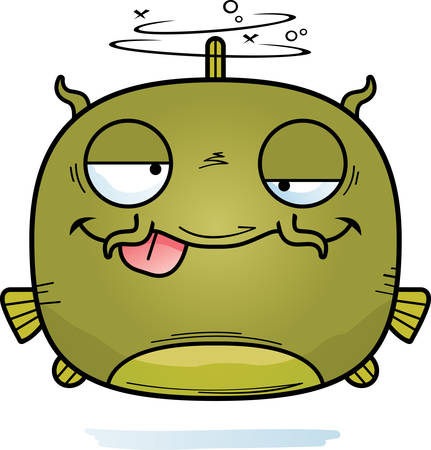 A cartoon illustration of a catfish looking drunk.