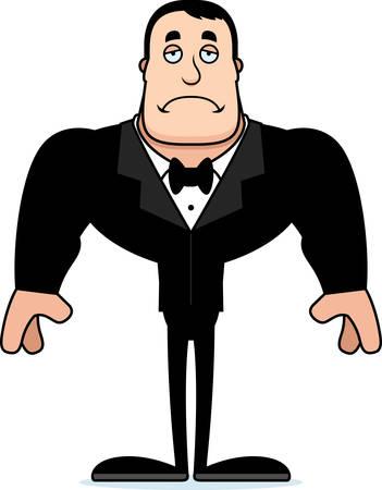 A cartoon groom looking sad.