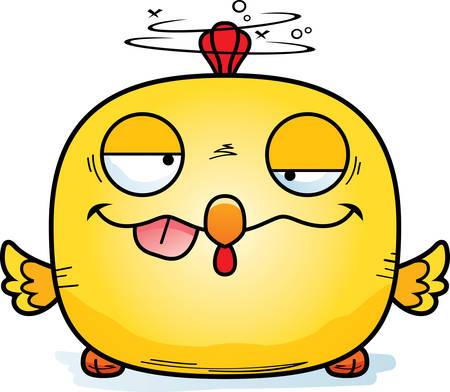 A cartoon illustration of a chicken looking drunk. 矢量图像