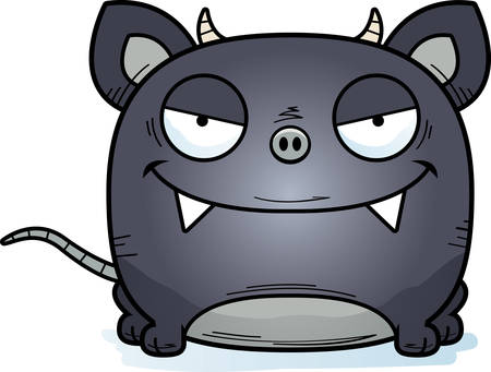 A cartoon illustration of a little chupacabra with a sly expression. Çizim