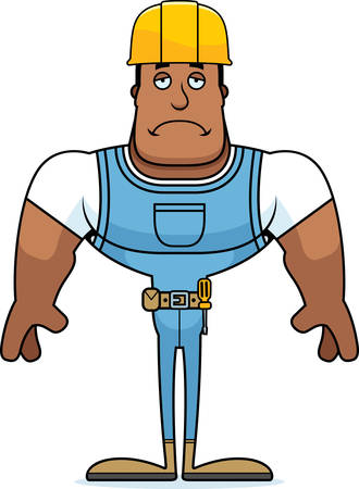 A cartoon construction worker looking sad. Stock Illustratie
